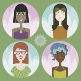 Set of four cartoon avatars - girls 01 Stock Photo
