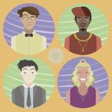 Set of four cartoon avatars - men 02 Stock Photos
