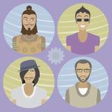 Set of four cartoon avatars - men 01 Royalty Free Stock Images