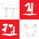 Set of four cartoon couples Stock Photo