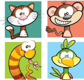 Wild Safari Animal Cartoon Set Royalty Free Stock Photos