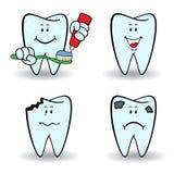 Set of four cartoon teeth Royalty Free Stock Photography