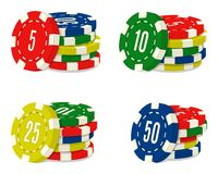 Set of four casino chips stacks with different value. Heaps of gambling house coins. vector illustration