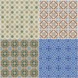 Set of four ceramic tiles patterns Stock Images