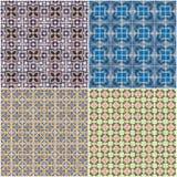 Set of four ceramic tiles patterns Stock Photography