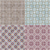 Set of four ceramic tiles patterns Royalty Free Stock Image