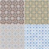 Set of four ceramic tiles patterns Royalty Free Stock Images