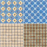 Set of four ceramic tiles patterns Royalty Free Stock Photos