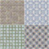 Set of four ceramic tiles patterns Stock Photos