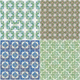 Set of four ceramic tiles patterns Royalty Free Stock Images