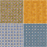 Set of four ceramic tiles patterns Royalty Free Stock Photo