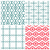 Set of four chain hexagon patterns. Chain hexagon patterns on white background in four style Stock Photography