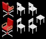 Set of four chairs. Isometric. Set of four chairs. Vector illustration. Set for isometric interior Royalty Free Stock Photography
