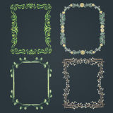 Set of four chalk drawn different spring frames on a blackboard Stock Images