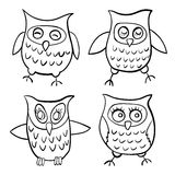 Set of four characters owls children contour doodle  illustration Royalty Free Stock Photos