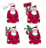 Set of four characters Santa Claus Stock Image