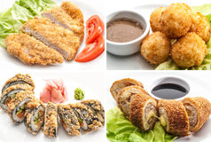 Set with four chiken dish and hot rolls Royalty Free Stock Photos