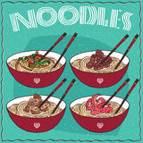 Set of four Chinese noodles Ramen or Udon Stock Image