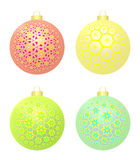 Set Of Four Christmas Balls With Stars Stock Photo