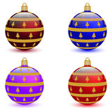 Set of four Christmas balls Royalty Free Stock Images