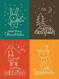 Cute Christmas greeting cards Stock Photography