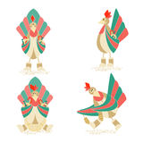 Set with Four Christmas Cockerels Royalty Free Stock Images