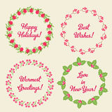 Set of four christmas decorated wreaths. With a diffrerent types of leaves and berries. Fully editable vector illustration. Perfect for christmas decorations Stock Image