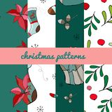 Set of four christmas patterns. Merry christmas seamless pattern.handdraw. vector royalty free illustration