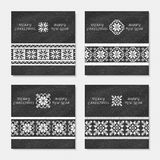 Set of four Christmas postcards with geometric ornament Stock Photo