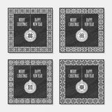Set of four Christmas postcards with geometric ornament Stock Image