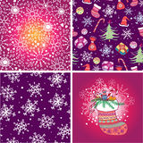 Set of four Christmas seamless pattern. Stock Images