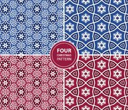 Set of four Christmas seamless patterns. You can use it for packaging design, textile design and scrapbooking Stock Images