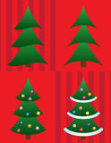 Set of four Christmas trees. Vector. A vector illustration of four Christmas trees on red background Royalty Free Stock Photos