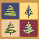 Set of four Christmas trees Royalty Free Stock Image