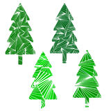 Set of four Christmas trees.  on white. Royalty Free Stock Photography
