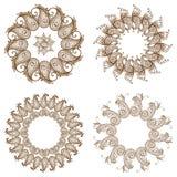 Set of four circular mehandi ornaments Stock Image