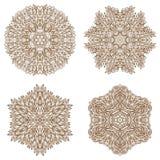 Set of four circular mehandi ornaments Stock Photo