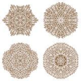 Set of four circular mehandi ornaments Royalty Free Stock Photography
