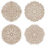 Set of four circular mehandi ornaments Royalty Free Stock Photos