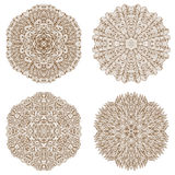 Set of four circular mehandi ornaments Royalty Free Stock Images