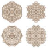 Set of four circular mehandi ornaments Stock Photography