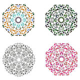 Set of four circular patterns Stock Image