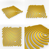 Set Of Four Circural Company Logo 3D Templates Stock Image