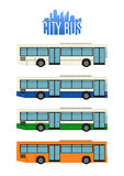 Set of four city bus icons Stock Images