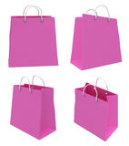 Set of four classic pink shopping bags. 3d. Stock Images