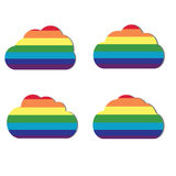 Set of four clouds in rainbow colors. Weather. Iridescent clouds. Stock Photos