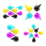 Set of four cmyk drop icons isolated Stock Photo