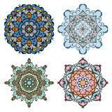 Set of four cold color mandalas Royalty Free Stock Image