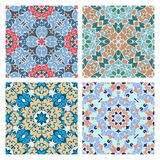 Set of four cold color seamless eastern patterns Royalty Free Stock Photos