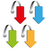 Set of four color arrow wobbler  Royalty Free Stock Photography